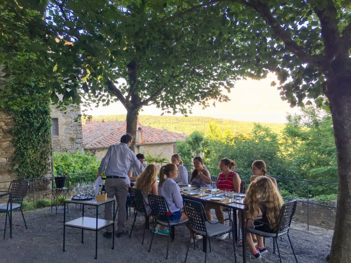Blue Stallion Farm Tuscany trip dinner