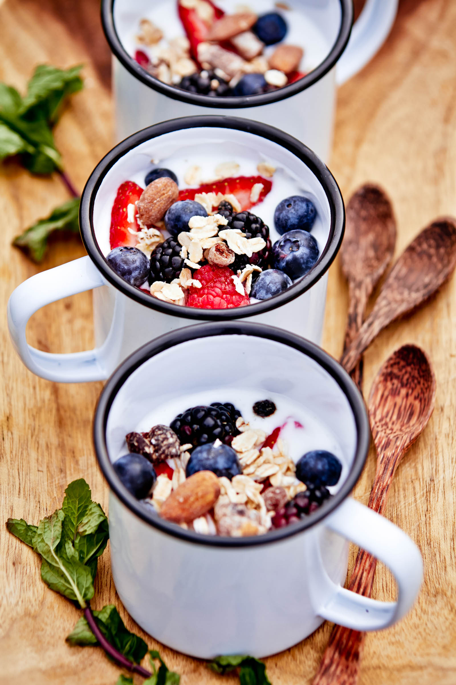 homemade yogurt with berries and granola